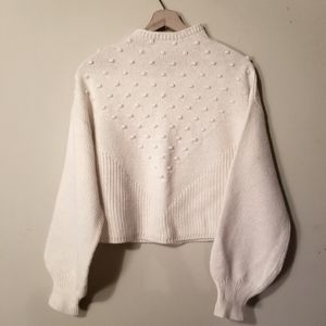 Cynthia Rowley   Textured Modern Cropped Cream Knit Sweater